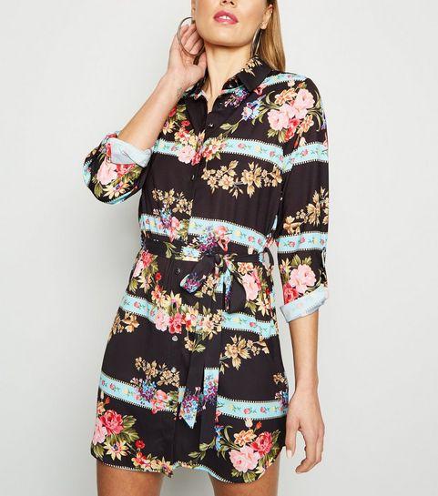 1199a1dcc7 ... Parisian Black Mixed Floral Shirt Dress ...
