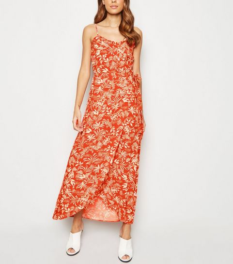 ca6f1053166 ... Red Leaf Print Maxi Wrap Skirt ...