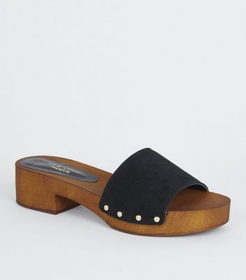 Black Premium Suede Wood Mules