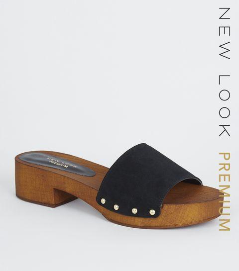 6c89890533d7 ... Black Premium Suede Wood Mules ...