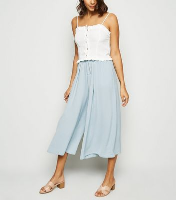 Light Green Wide Leg Crop Trousers