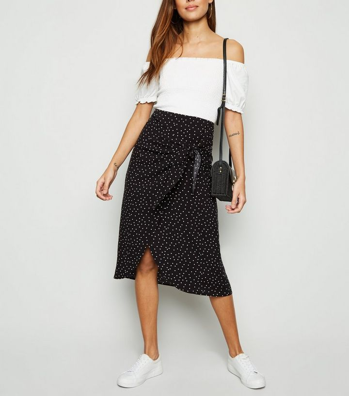 2019 wholesale price new high details for Black Spot Wrap Midi Skirt Add to Saved Items Remove from Saved Items