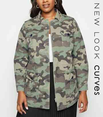 4ad2e5cc49e69 Curves - Veste casual vert olive à motif camouflage et à 4 poches ...