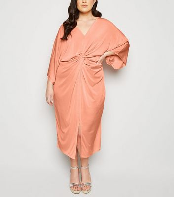 Blue Vanilla Curves Pink Twist Front Kimono Dress