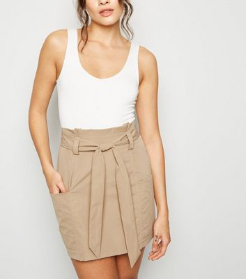 Parisian Camel Paperbag Mini Skirt