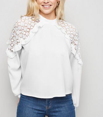 Parisian White Crochet Frill Trim Blouse