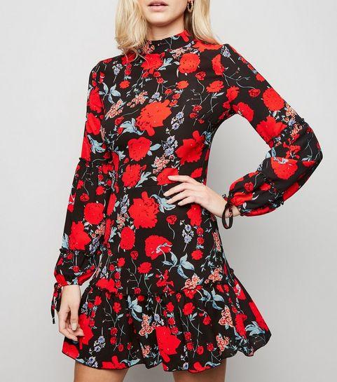 0c812a18926 ... Parisian Black Floral High Neck Dress ...