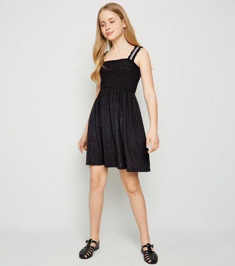 297c2000f97 Girls Black Shirred Burnout Dress · Girls Black Shirred Burnout Dress ...