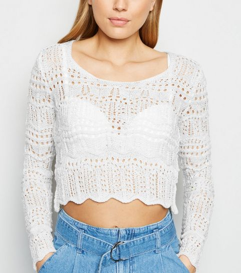 247322905f2b1 ... Off White Pointelle Knit Long Sleeve Jumper ...