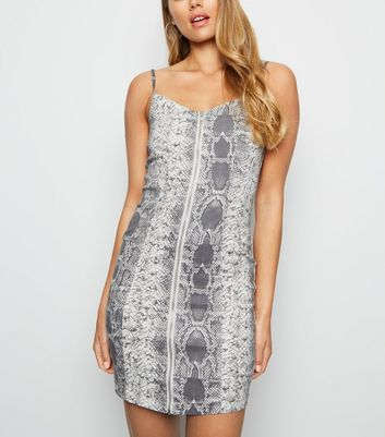 Light Grey Snake Print Bodycon Dress