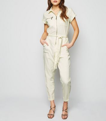 Off White Tie Waist Denim Boiler Suit