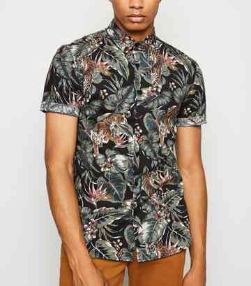 Black Tropical Short Sleeve Muscle Fit Shirt