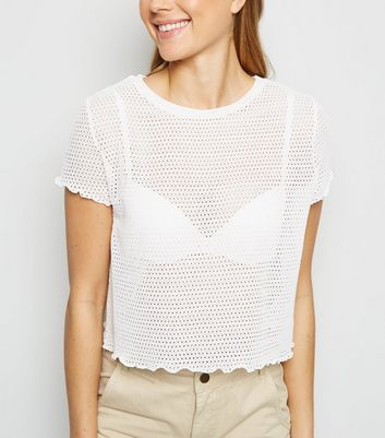 Off White Mesh Knit Frill Trim T-Shirt