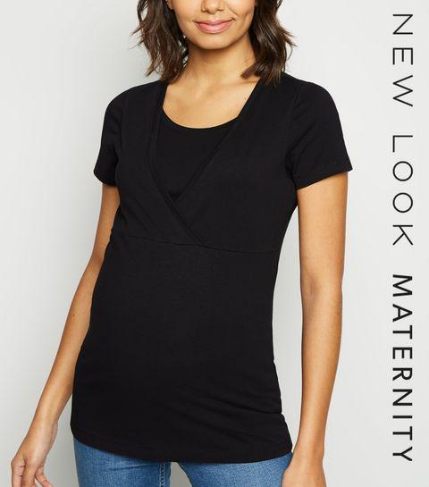 adf2170950c ... Maternité - T-shirt noir d allaitement à manches courtes ...