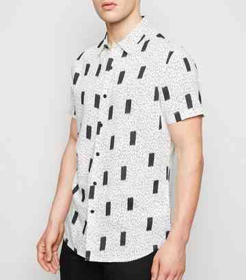 White Abstract Print Revere Collar Shirt