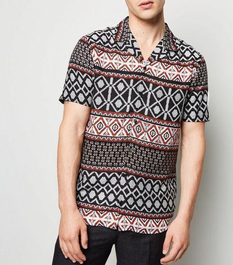 d27023f4 ... Black Abstract Print Revere Collar Shirt ...