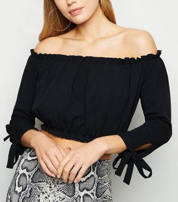 Black Long Sleeve Bardot Crop Top