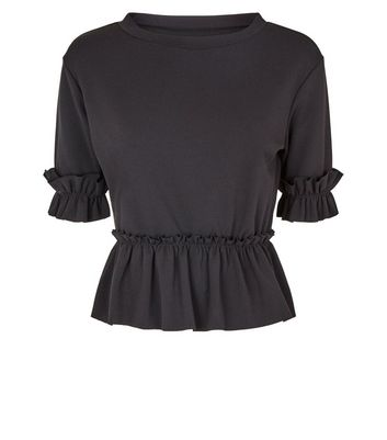 Cameo Rose Black Short Sleeve Frill Trim T-Shirt New Look