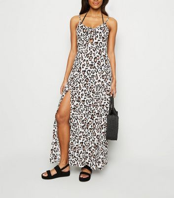 White Leopard Print Beach Maxi Dress