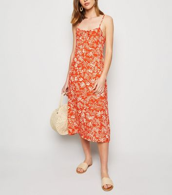 Red Tropical Midi Slip Dress