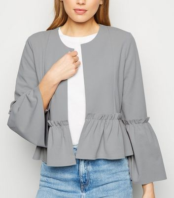 Pale Grey Frill Sleeve Jacket