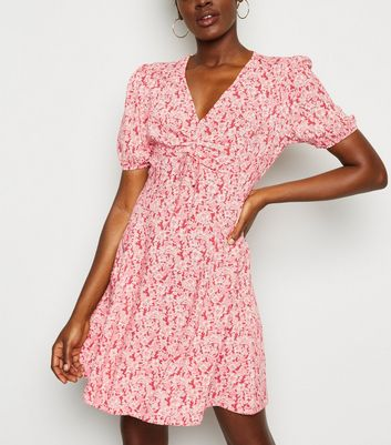 Red Floral Ruched Front Tea Dress