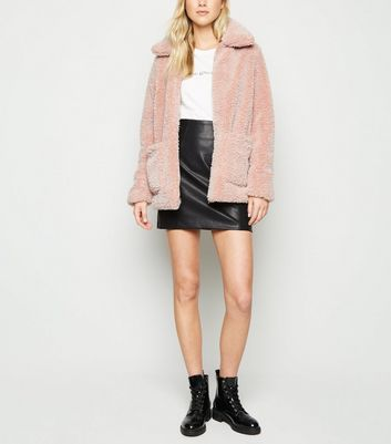 Pink Patch Pocket Teddy Coat