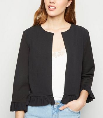 Black Frill Trim Jacket