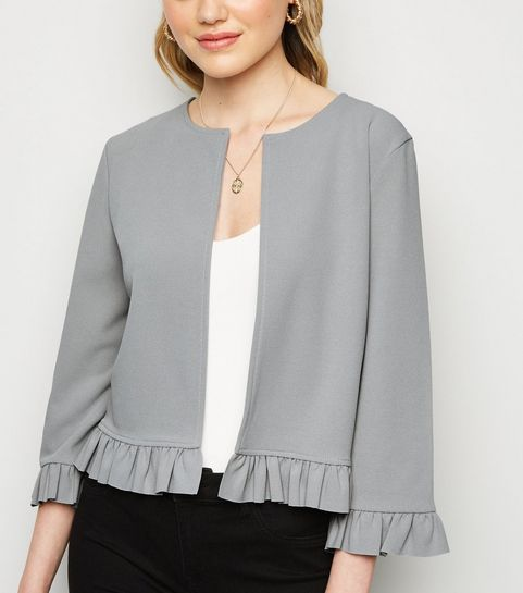 92a81901457 ... Pale Grey Frill Trim Jacket ...