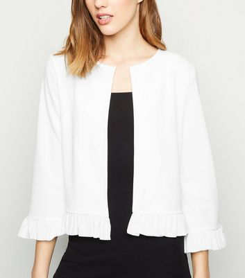 Cream Frill Trim Jacket