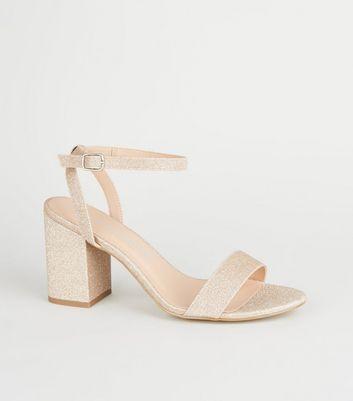 Wide Fit Rose Gold Glitter Block Heels
