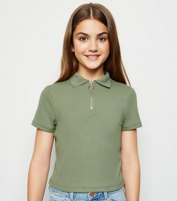 Girls Khaki Zip Neck Polo Shirt