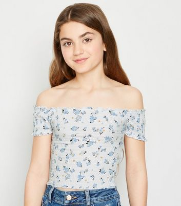 Girls White Floral Shirred Bardot Top