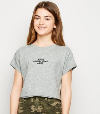 Girls Grey Never Underestimate Slogan T-Shirt