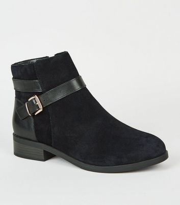 Wide Fit Black Suede Buckle Ankle Boots