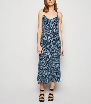 Blue Zebra Print Bias Cut Midi Slip Dress