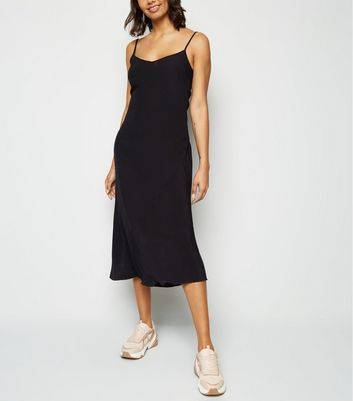 Black Bias Cut Slip Midi Dress