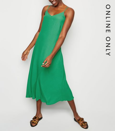 2ffbec5cbe ... Green Bias Cut Slip Midi Dress ...