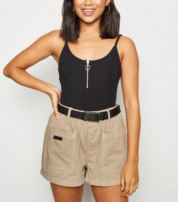 Petite Camel Belted Utility Shorts by New Look