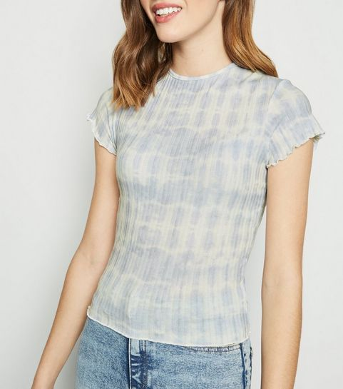 a6125af5ee8d8 ... Blue Tie Dye Ribbed Frill Trim T-Shirt ...