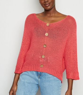 Carpe Diem Coral Knit Button Front Top