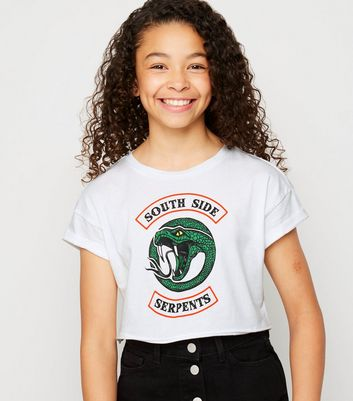 "Girls - Weißes T-Shirt mit ""South Side""-Riverdale-Slogan"