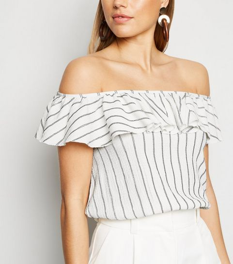 930416ff49 ... White Stripe Frill Trim Bardot Top ...