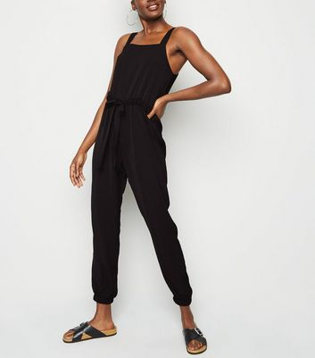 Black Herringbone Strappy Drawstring Jumpsuit