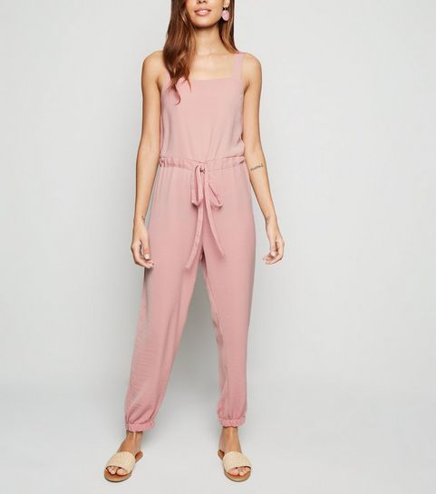 5a198aa2116 ... Pale Pink Herringbone Strappy Drawstring Jumpsuit ...