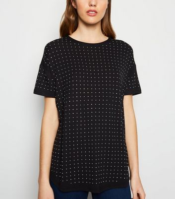 Black Diamanté Stud Front T-Shirt