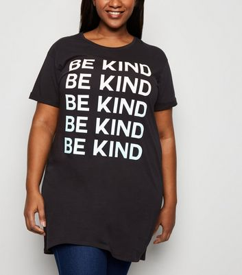Curves - T-shirt noir à slogan « Be Kind »