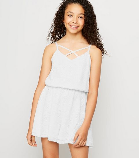0622100f58bc Girls White Lace Playsuit · Girls White Lace Playsuit ...