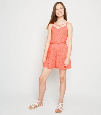 Girls Coral Neon Lace Playsuit