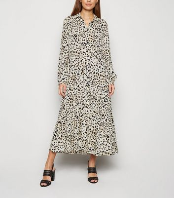 Brown Leopard Print Tiered Hem Shirt Dress